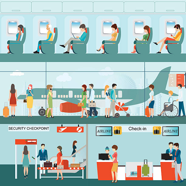 Set of Passenger airline at airport terminal . Set of Passenger airline at airport terminal with check in counter and security checkpoint, Airline interior with plane seat on the flight business travel vector illustration. airport drawings stock illustrations