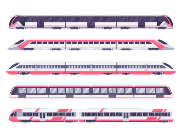 illustrations, cliparts, dessins animés et icônes de ensemble de train de voyageurs - métro
