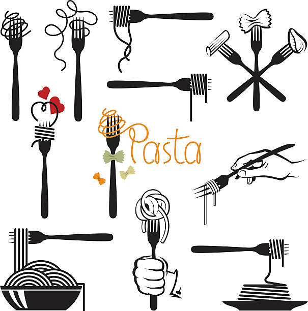 set of pasta elements collection of fork and dish with various pasta tortellini stock illustrations