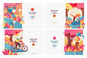 Set of pastel bright banners with sport girls in gradient flat style. Healthy and wellness lifestyle. Young people doing yoga, jogging, jumping with rope and riding bycicle. Design good for web.