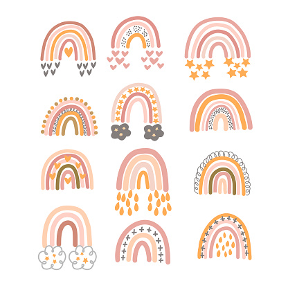 Set of pastel brown rainbows with ornament in vector graphics on a white background. For the design of postcards, posters, prints for children clothing, wrapping paper, notebook covers