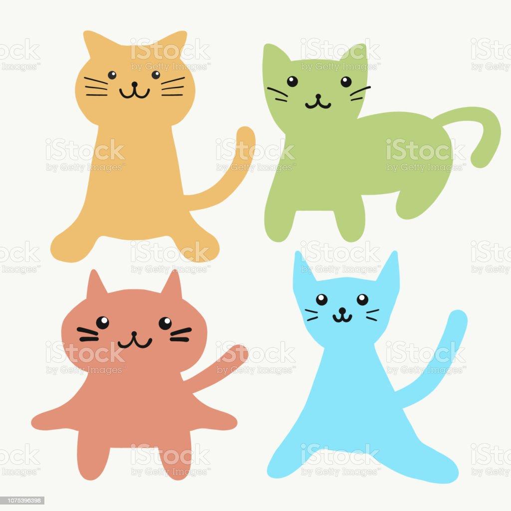 Vetores De Conjunto De Mao De Desenhos Animados De Gato Feliz
