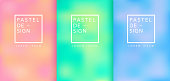 Set of pastel gradient colourful backgrounds. Modern display themes. Template design for mobile app, card, banner. Vector illustration.