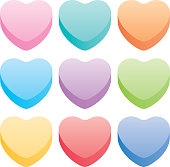 Vector illustration of nine pastel colorful hearts.