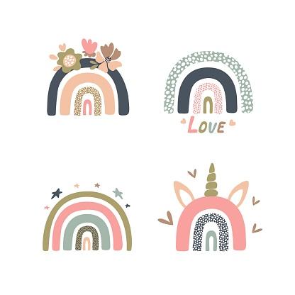set of pastel rainbows for kids decor, vector illustration