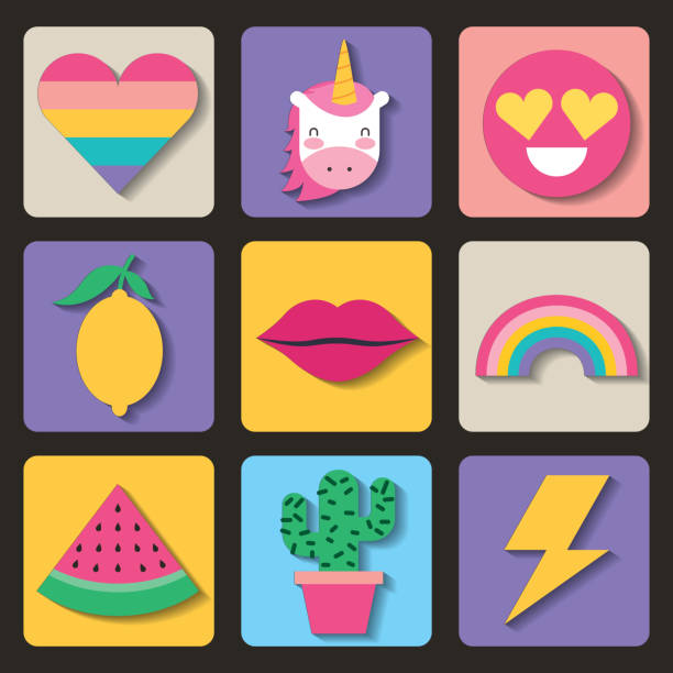 set of patches or stickers cute cartoon icons vector art illustration