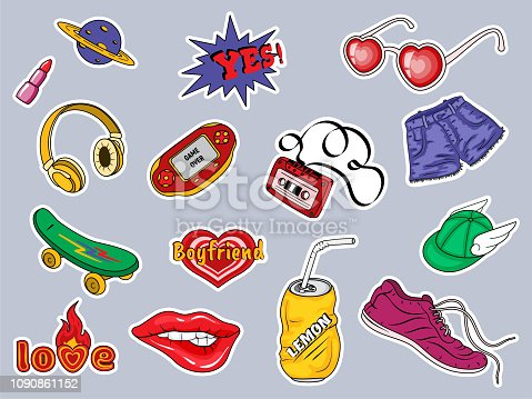 Set of patches with fashion badges retro style 80s, 90s