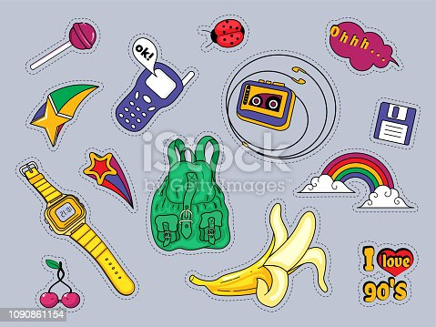 Set of patches with fashion badges retro style 80s,90s