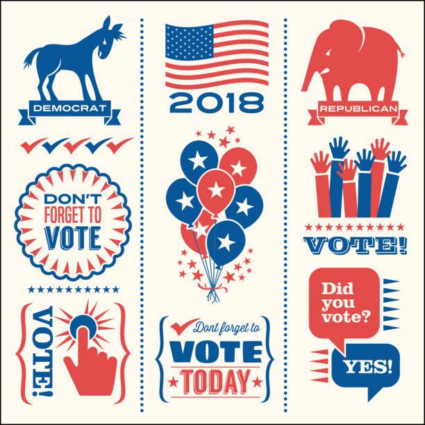 illustrations, cliparts, dessins animés et icônes de ensemble d'éléments de conception patriotique pour encourager à voter aux élections américaines. - vote