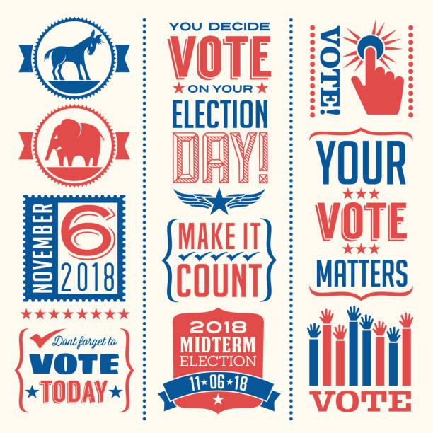 ilustraciones, imágenes clip art, dibujos animados e iconos de stock de conjunto de elementos de diseño patriótico a votar en las elecciones de estados unidos. - election