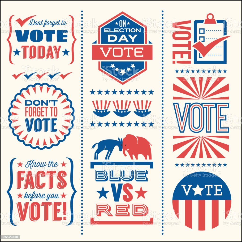 Set of patriotic design elements to encourage voting in United States elections. vector art illustration