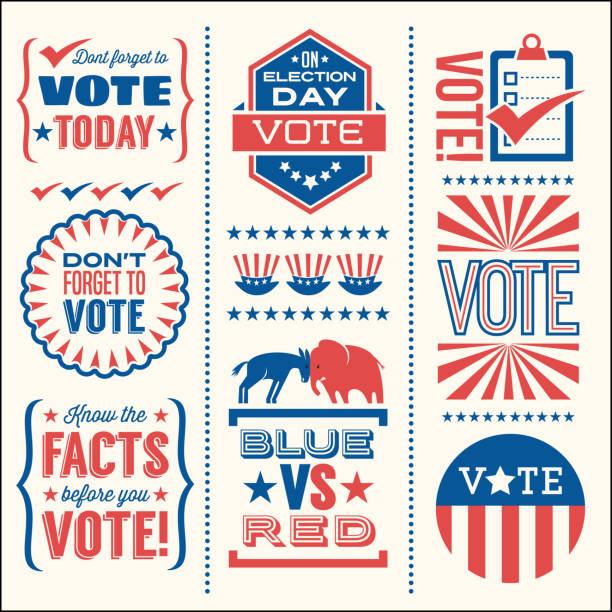 ilustraciones, imágenes clip art, dibujos animados e iconos de stock de conjunto de elementos de diseño patriótico a votar en las elecciones de estados unidos. - polling place