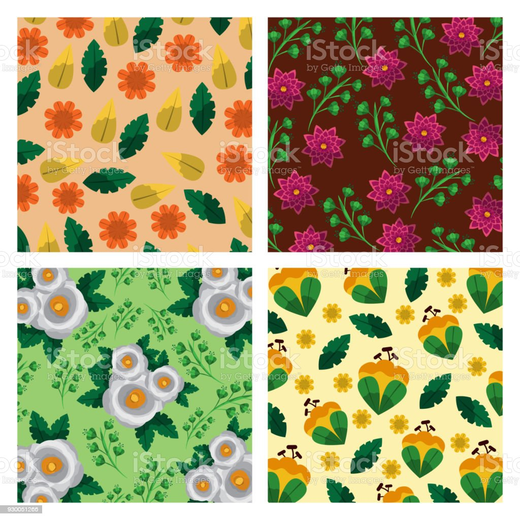 Set Of Pattern Flowers Floral Decoration Wallpaper Stock Vector Art ...