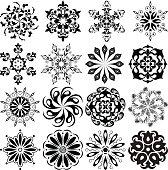 Set of pattern tattoo. 16 Mandalas in black