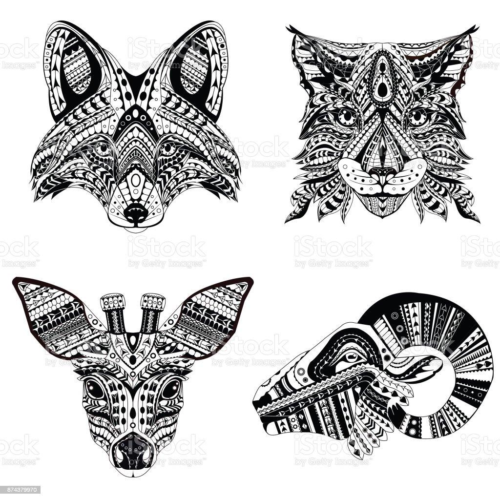 Set Patterned Hoofden Van Lynx Vos Reeen En Ram Volwassen Antistress