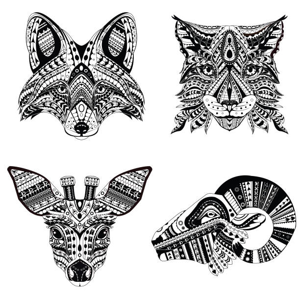 Set Of Patterned Heads Lynx Fox Roe And Ram Adult Anti