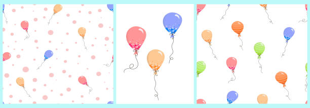 Set of patterns and poster with balloons in Doodle style vector art illustration
