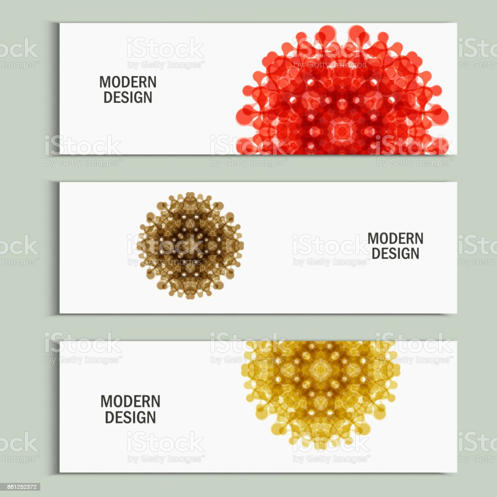 Set of patterns with abstract colored shapes vector art illustration