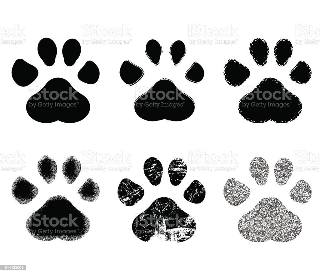 Set of Paw Print. Vector illustration.