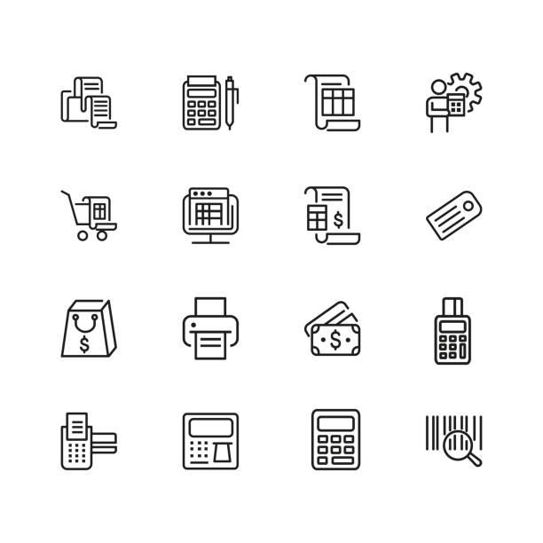 illustrazioni stock, clip art, cartoni animati e icone di tendenza di set of payment line icons - calcolatrice