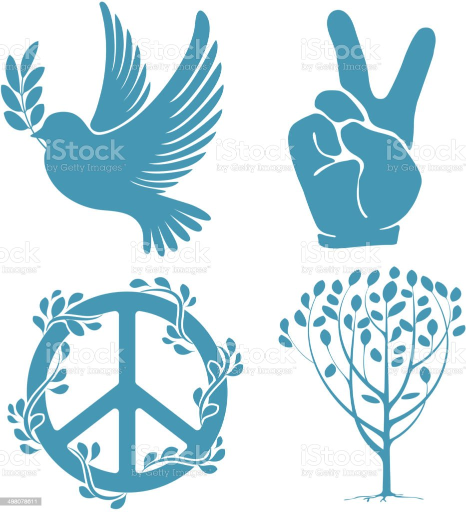 Set of peace symbols vector art illustration
