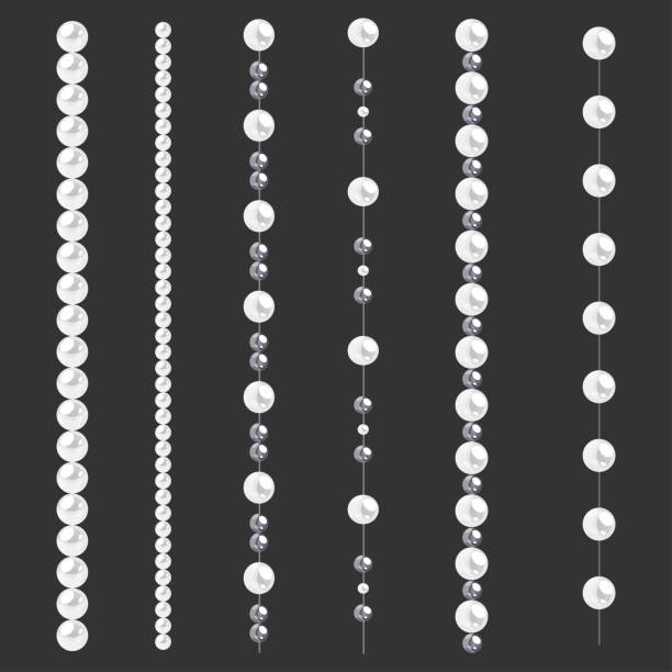 Set of pearl borders isolated on gray background. Vector dividers for decoration, wedding invitation or greeting cards, banners. Set of pearl borders isolated on gray background. Vector dividers for decoration, wedding invitation or greeting cards, banners. bead stock illustrations