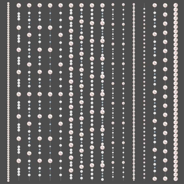 satz von perlenrändern auf grauem hintergrund isoliert. vektorteiler für dekoration, hochzeitseinladung oder grußkarten, banner. - hochzeitsanstecker stock-grafiken, -clipart, -cartoons und -symbole