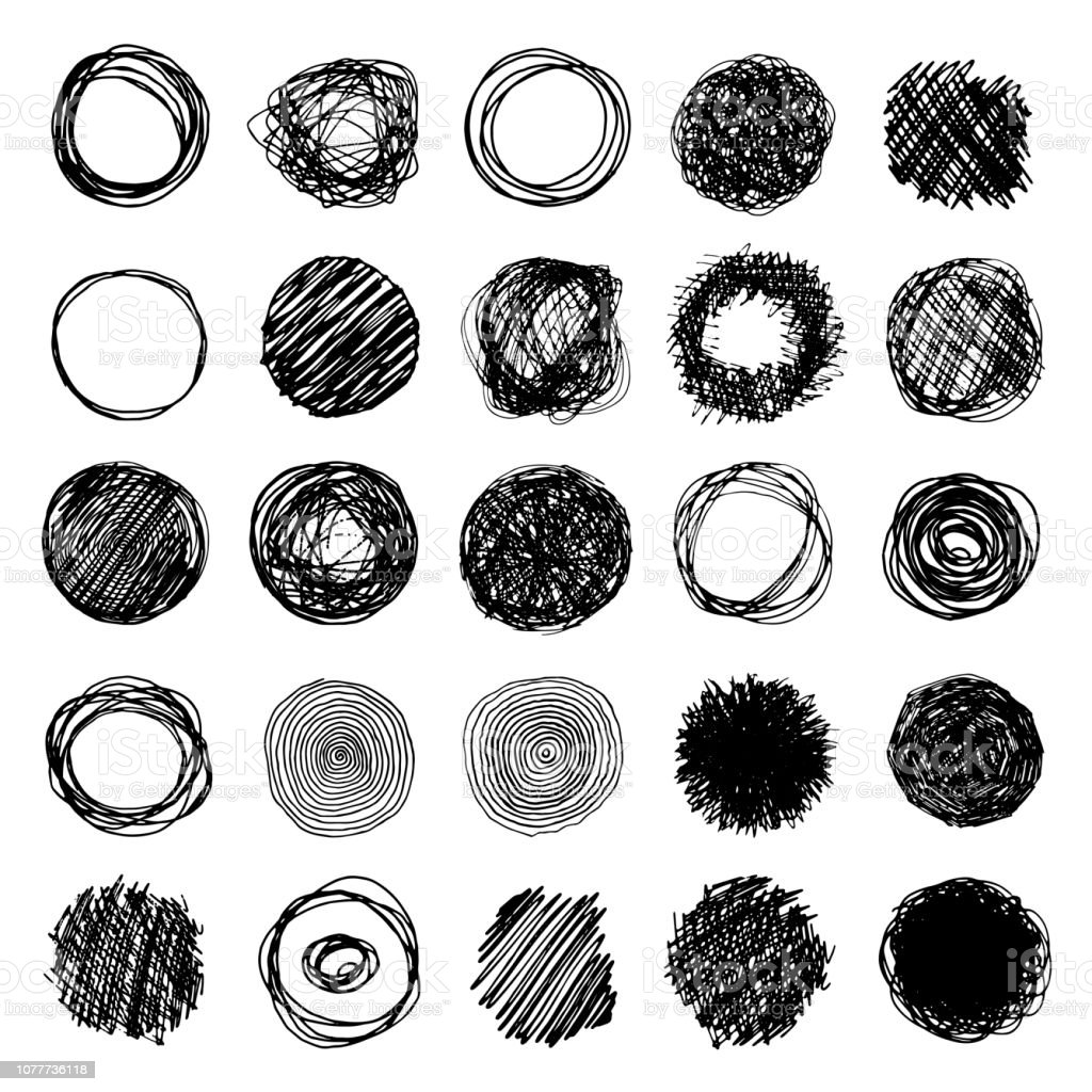 Set Of Pencil Doodle Borders. Hand Drawn Scribble Circle Frames...