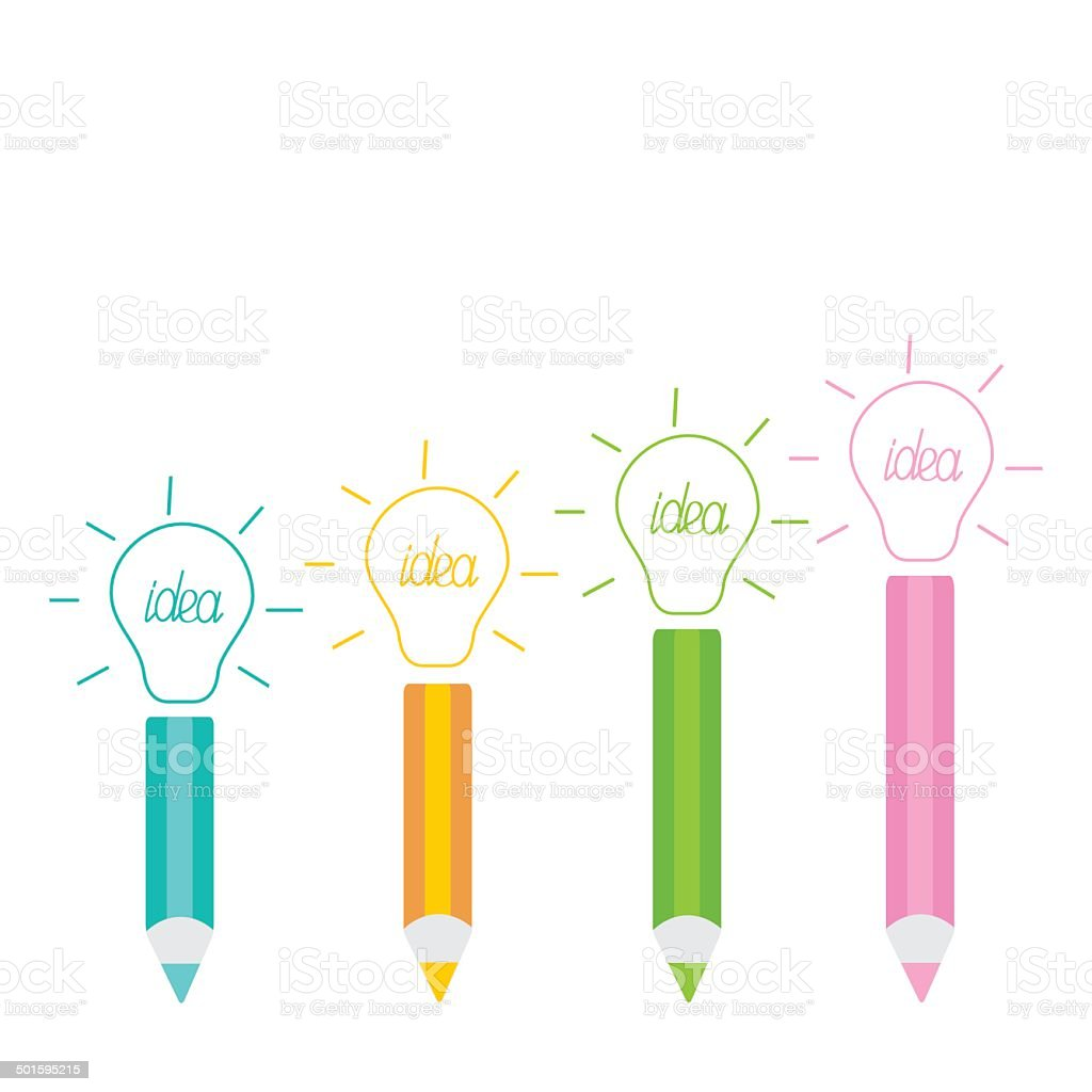 Set of pencils and shining light bulbs Business idea concept. vector art illustration