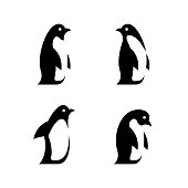 Happy penguin family. Penguins isolated on white background. Vector cute cartoon character animals set. Illustration penguin family, cartoon winter animal