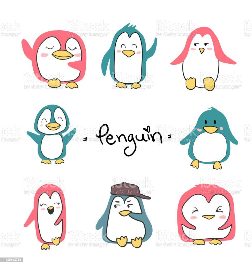 conjunto de vetor plana de pinguins personagem bonito - ilustração de arte em vetor