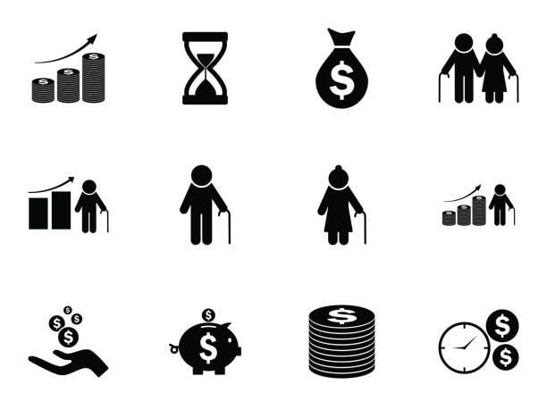 Set von Rente Fonds Icons. Vektor-Piktogramme – Vektorgrafik