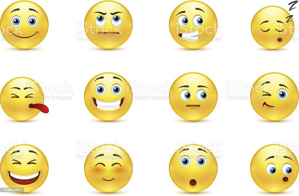 Set of pensive smiles vector art illustration