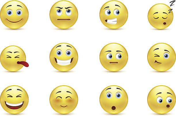 set of pensive smiles - jealous emoji stock illustrations, clip art, cartoons, & icons