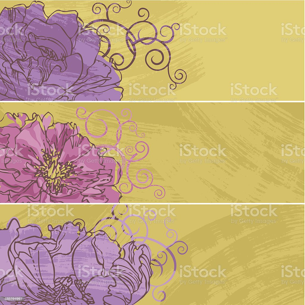 Set of Peony Banners vector art illustration