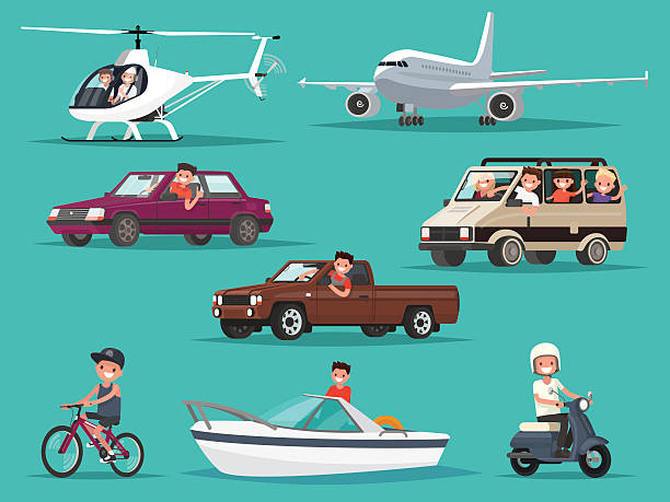set of people and vehicles. aircraft, helicopters, cars, moped, - moped stock-grafiken, -clipart, -cartoons und -symbole