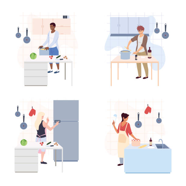 set of people are cooking in white background - busy restaurant kitchen stock illustrations