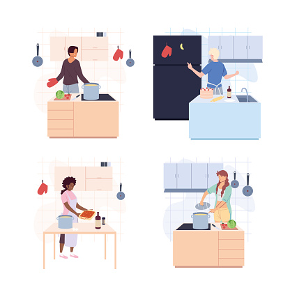 set of people are cooking over white background
