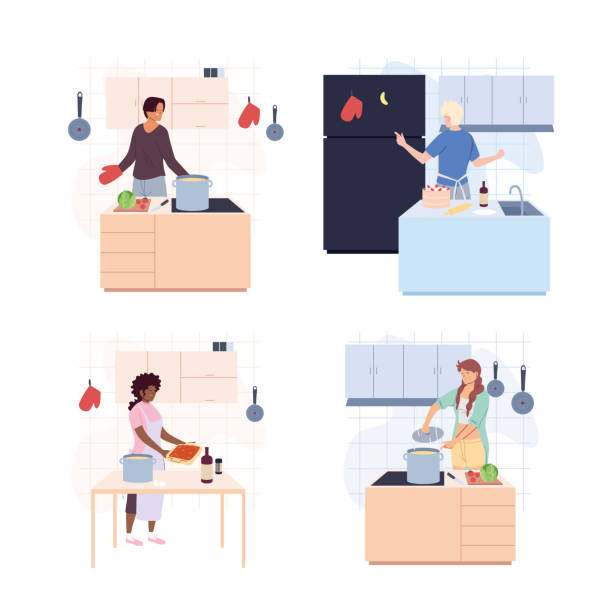 set of people are cooking over white background - busy restaurant kitchen stock illustrations