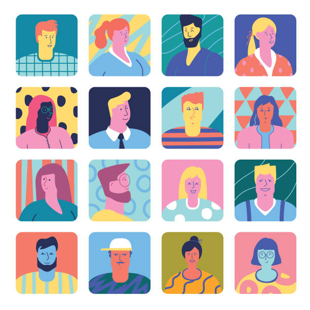 stockillustraties, clipart, cartoons en iconen met set van mensen avatars - karakters