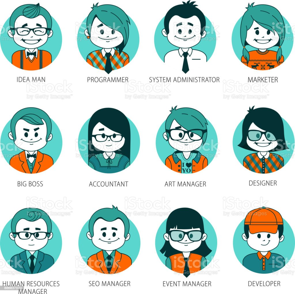 set of people avatars your office team collection of professions in