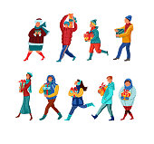 Set of isolated hand drawn women and men in bright winter clothing carrying holiday gift boxes after shopping over white background vector illustration. Winter holidays preparation concept
