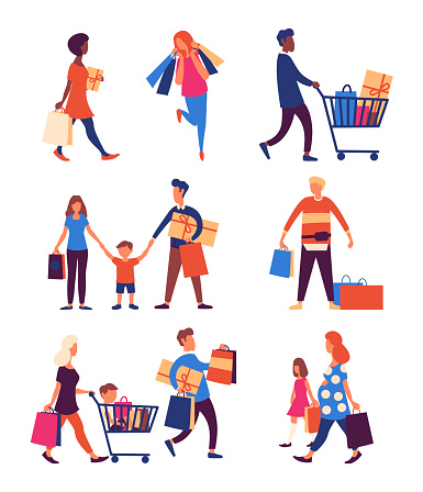 Set of people carrying shopping bags with purchases. Smiling women and man family characters with gift boxes, paper bags.