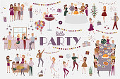Set of people celebrating, funny cartoon style icons collection with men and women
