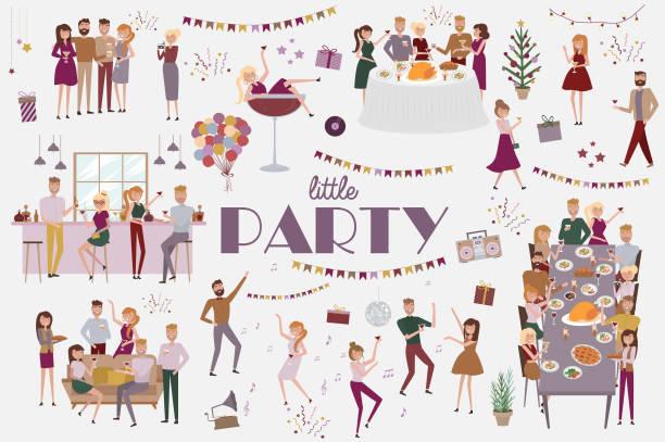 satz von menschen feiern, lustige cartoon stil symbolsammlung mit männern und frauen - firmenweihnachtsfeier stock-grafiken, -clipart, -cartoons und -symbole
