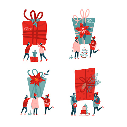 Set of people celebrating New Year. Flat vector illustrations -friends holding presents, tiny people near big gift boxes. New Year or Christmas concept for banner, website design or landing web page