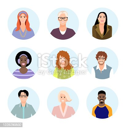 667207410 istock photo Set of people different races avatars. User portraits. Male and female characters faces. Smiling young men and women collection. Bundle of happy faces icons. Vector illustration 1225290532