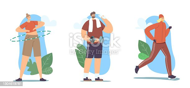 Set of People Doing Sport, Outdoor Training, Exercising, Sport Activity, Characters Sports Workout with Dumbbells, Run