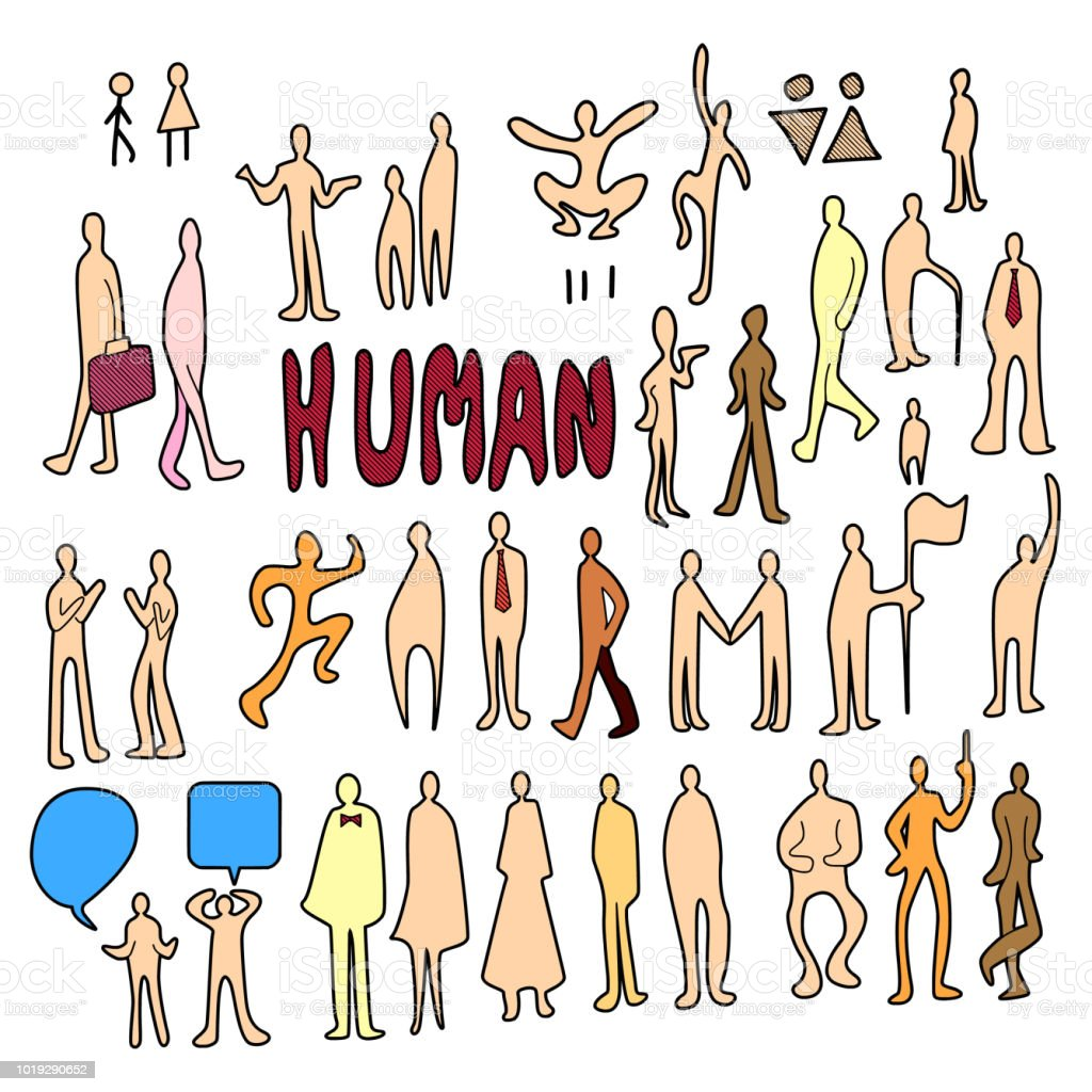 Set of People doodle vector. Creative colour art hand draw...