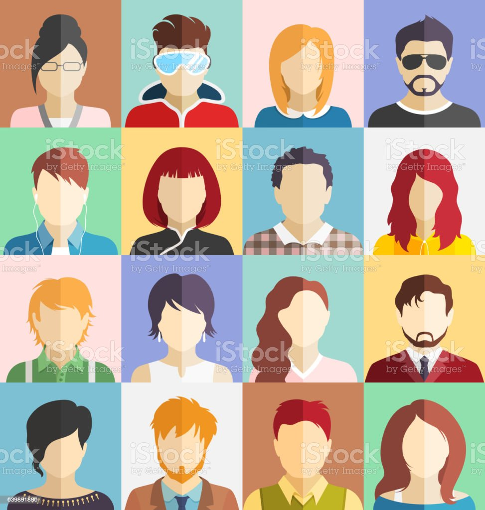 Set of People Faces Avatars Icons vector art illustration